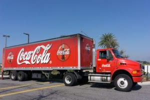 A red Coca cola truck