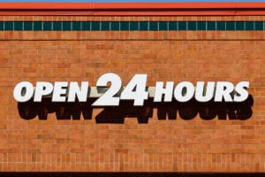 Open 24 Hours Signage